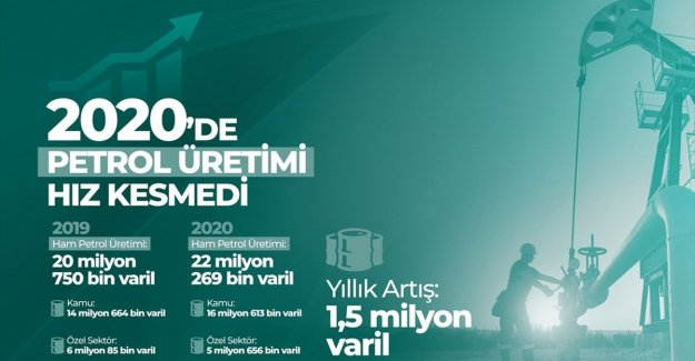 Türkiye'nin petrol üretimi 2020'de 1,5 milyon varil arttı